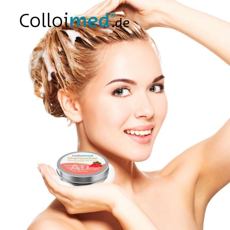 Haare waschen mit kolloidalem Silizium Shampoobar von Colloimed